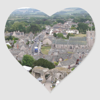 Pegatina En Forma De Corazón Castillo de Corfe, Dorset, Inglaterra