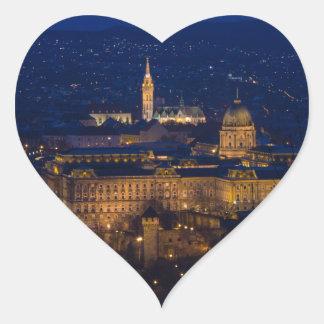 Pegatina En Forma De Corazón Castillo Hungría Budapest de Buda en la noche
