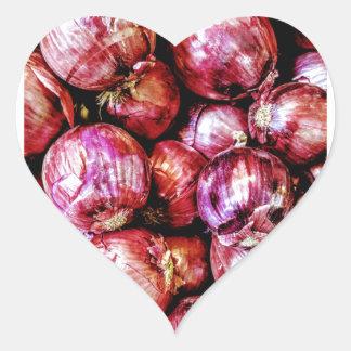 Pegatina En Forma De Corazón Cebolla roja