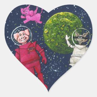 Pegatina En Forma De Corazón Cerdo, mapache y elefante rosado