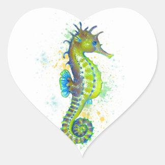 Pegatina En Forma De Corazón Chapoteo del Seahorse del verde amarillo