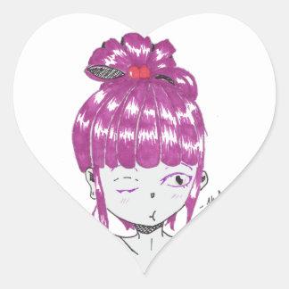 Pegatina En Forma De Corazón chica adolescente del pelo rosado del chibi