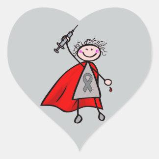 Pegatina En Forma De Corazón Chica del super héroe de la insulina de la
