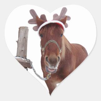 Pegatina En Forma De Corazón Ciervos del caballo - caballo del navidad -