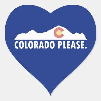 Pegatina En Forma De Corazón Colorado por favor