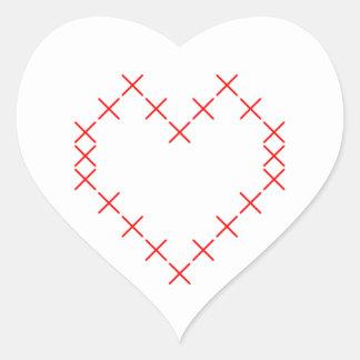 Pegatina En Forma De Corazón Corazón cruzado de la puntada
