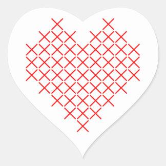 Pegatina En Forma De Corazón Corazón de la puntada de la Cruz Roja