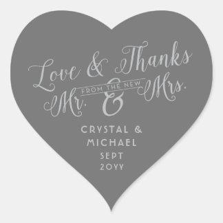 Pegatina En Forma De Corazón Corazón gris - el casarse de plata del amor y de
