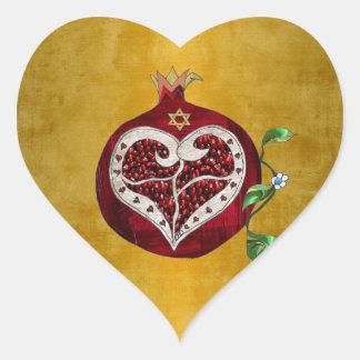 Pegatina En Forma De Corazón Corazón Jánuca Rosh Hashanah de la granada de
