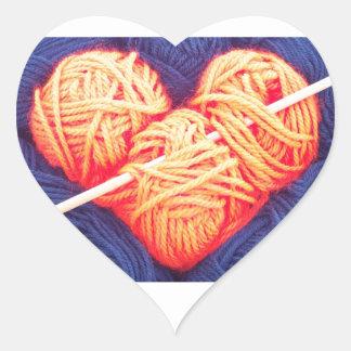 Pegatina En Forma De Corazón Corazón lindo de las lanas con la fotografía de la
