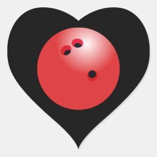 Pegatina En Forma De Corazón Corazón rojo del negro de la bola de bolos