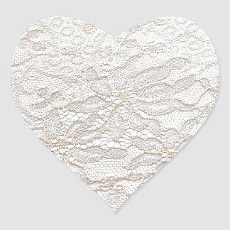 Pegatina En Forma De Corazón Cordón blanco de Chantilly