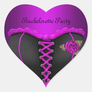Pegatina En Forma De Corazón Corsé de la púrpura del fiesta de Bachelorette del