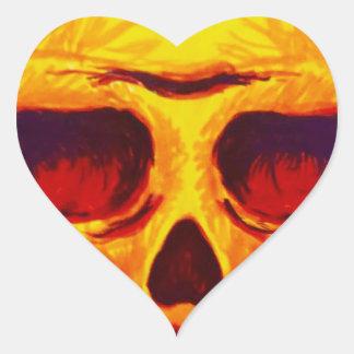 Pegatina En Forma De Corazón Cráneo del bosquejo
