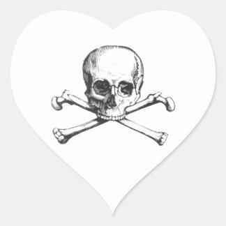 Pegatina En Forma De Corazón Cráneo y Crossbone del pirata