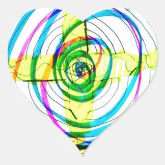 Pegatina En Forma De Corazón Cruces de Cartoids del fractal y la banda espiral