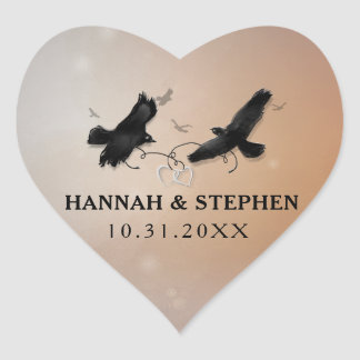 Pegatina En Forma De Corazón Cuervos de Halloween con los corazones que casan