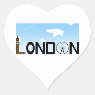 Pegatina En Forma De Corazón D3ia del horizonte de Londres