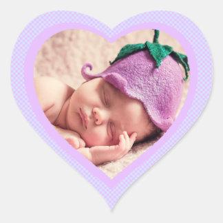 Pegatina en forma de corazón de la foto del bebé