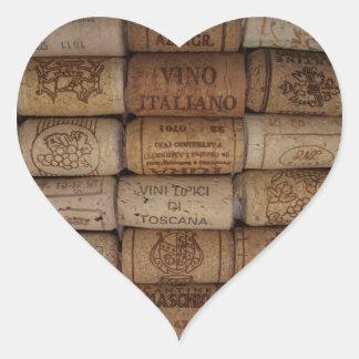 Pegatina en forma de corazón del vino de la