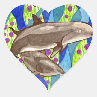 Pegatina En Forma De Corazón delfín
