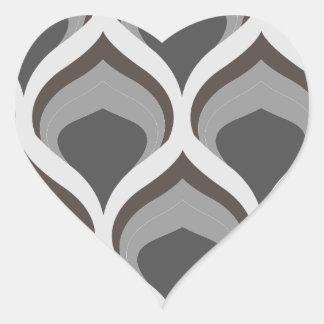 Pegatina En Forma De Corazón descensos geométricos grises