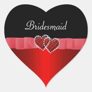 Pegatina En Forma De Corazón Diamante rojo y negro que cierra casarse de los