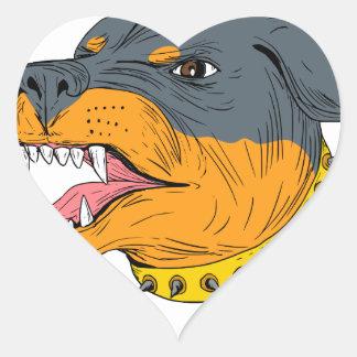 Pegatina En Forma De Corazón Dibujo agresivo de la cabeza de perro guardián de