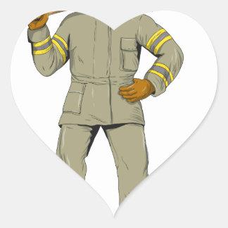 Pegatina En Forma De Corazón Dibujo americano del hacha del fuego del bombero