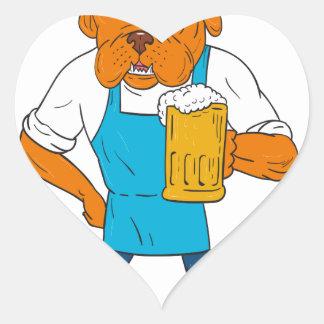 Pegatina En Forma De Corazón Dibujo animado de la mascota de la taza del