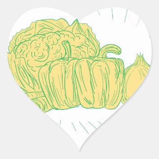Pegatina En Forma De Corazón Dibujo de la cebolla del pimiento de Brocolli