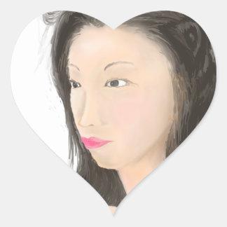 Pegatina En Forma De Corazón Dignificado [kanji japonés]