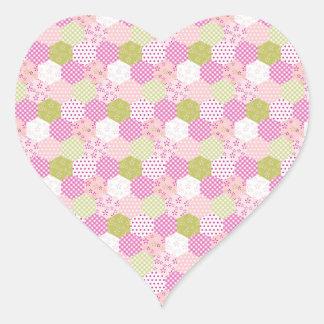 Pegatina En Forma De Corazón Diseño bonito del edredón de remiendo del verde
