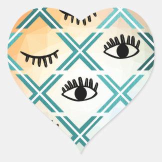 Pegatina En Forma De Corazón Diseño colorido original de los ojos
