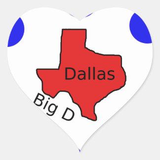 Pegatina En Forma De Corazón Diseño de la ciudad de Dallas, Tejas (D) grande