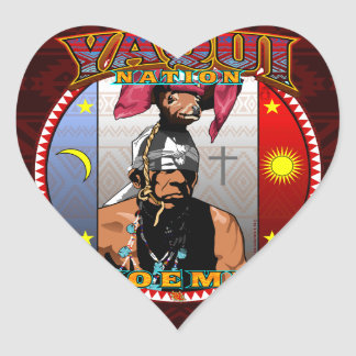 Pegatina En Forma De Corazón Diseño del bailarín de los ciervos de Yaqui Yoeme