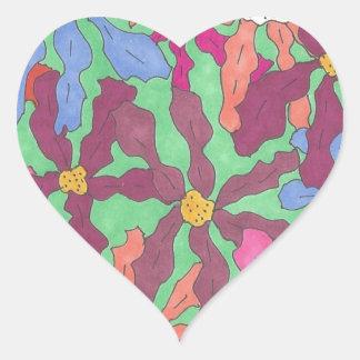 Pegatina En Forma De Corazón Diseño retro de Boho del estampado de plores
