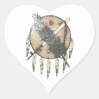 Pegatina En Forma De Corazón Dreamcatcher descolorado