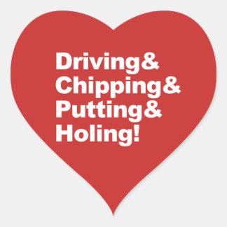Pegatina En Forma De Corazón Driving&Chipping&Putting&Holing (blanco)