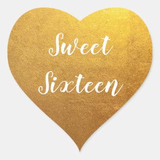 Pegatina En Forma De Corazón Dulce dieciséis de la foto del oro