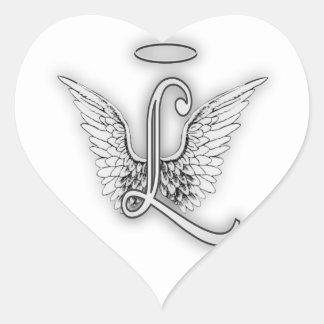 Pegatina En Forma De Corazón El alfabeto L letra inicial del ángel se va