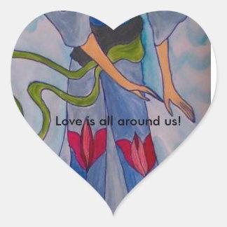 Pegatina En Forma De Corazón El amor está todo alrededor de nosotros