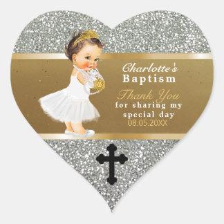 Pegatina En Forma De Corazón El bautismo de la niña le agradece favorecer la