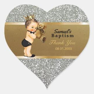 Pegatina En Forma De Corazón El bautismo del bebé le agradece favorecer la