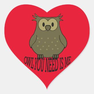 Pegatina En Forma De Corazón el búho que usted necesita es yo