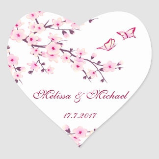 Pegatina En Forma De Corazón El casarse floral de las flores de cerezo