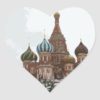 Pegatina En Forma De Corazón El cathedral_russo de la albahaca del santo