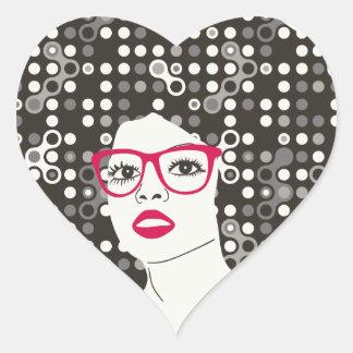 Pegatina En Forma De Corazón ÉL chica con los labios y afro rojos sensuales del