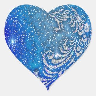 Pegatina En Forma De Corazón El chispear pavo real azul y blanco