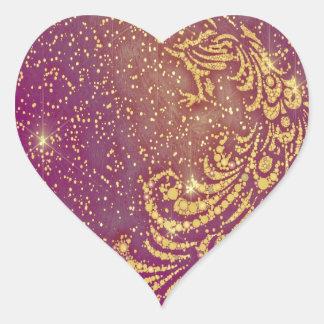 Pegatina En Forma De Corazón El chispear pavo real rojo y amarillo